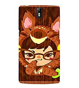 Takkloo a cartoon girl ( brown animal cartoon, girl wearing specs, brown background) Printed Designer Back Case Cover for OnePlus One :: OnePlus 1 :: One Plus One