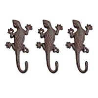 Set of 3 Vintage Cast Iron Lizard Ornament Wall Mountable Coat Hooks