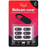 Webcam cover, protect your privacy online when using a laptop, tablet, Macbook, Macbook Pro, iPad, PC and more. Easy to use, ultra slim, robust, sliding camera cover, in black, 6 pack. Stronger glue