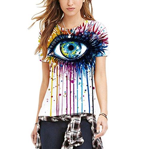 MILEEO Damen Basic T-shirt Skull Schädel Shirt mit Rundhals Klassisch Rundhalsshirt Kurzarm Tops (2 X Scrubs Top)
