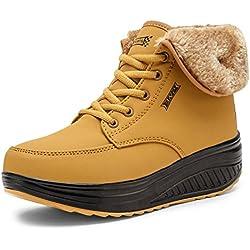SAGUARO® Invierno Mujer Botas de Nieve Cuero Calientes Fur Botines Plataforma Bota Boots Ocasional Impermeable Anti Deslizante Zapatos, Amarillo 40