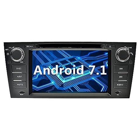 YINUO 7 pouces 1 Din Android 7.1.1 Nougat 2 GB RAM Quad Core écran tactile Autoradio Lecteur de DVD GPS Navigation avec Bluetooth Support DAB OBD2 WiFi pour BMW 3 Series 2006-2011 BMW E90/ 2006-2011 BMW E91/ 2006-2011 BMW E92/ 2006-2011 BMW E93 (Autoradio)