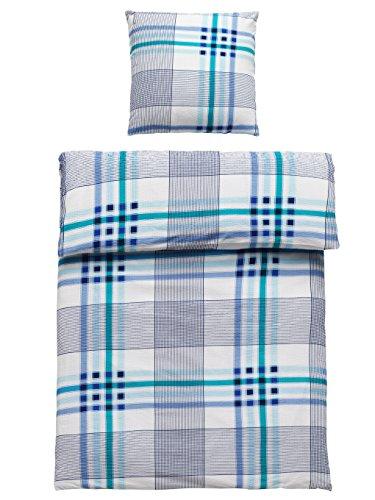 4 Teilig Seersucker Bettwäsche Victor-Blau Baumwolle mit Reißverschluss 2x 135x200 Bettbezug + 2x 80x80 Kissenbezug