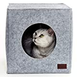 PiuPet® Premium Cat Bed incl. Cushion, Suitable for e.g. IKEA® Kallax & Expedit Shelves, Cats beds in grey, Cozy cat house, Cat basket