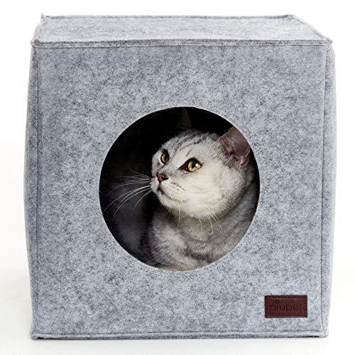 PiuPet® Katzenhöhle inkl. Kissen, Passend für z.B. IKEA® Kallax & Expedit Regal, Kuschelhöhle in grau -