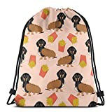 """best pillow Doxie Dachshund Winer Dog Hot Dog and Fries Dog Costume Cute Funny Food Novelty Dog Pet Puppy Print_25670 3D Print Drawstring Backpack Rucksack Shoulder Bags Gym Bag for Adult 16.9""""x14"""""""