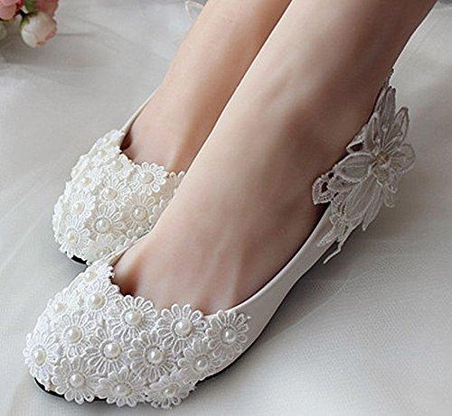 JINGXINSTORE Piatto/4/7/10cm bianco perla Pizzo scarpe Nozze Nuziale tacchi delle pompe Flats