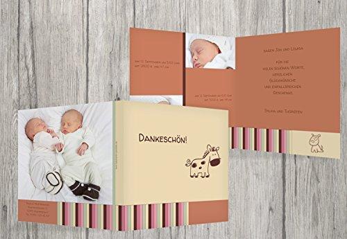 Kartenparadies Danksagung für Geburt Baby Dankeskarte Zwillinge Retro, hochwertige Danksagungskarte Baby inklusive Umschläge | 70 Karten - (Format: 145x145 mm) Farbe: Kaminorange