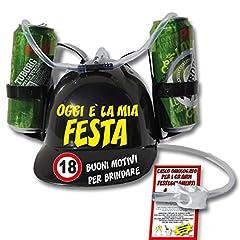 Idea Regalo - Bombo Casco Porta lattine per Festeggiare Il Compleanno dei 18 Anni.