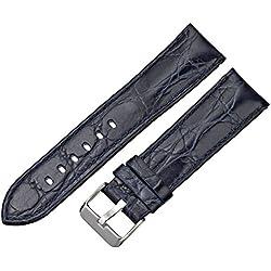 Tech Swiss LEA333-22SS 22mm Leather Calfskin Blue Watch Strap