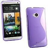 Kit Me Out ES Funda de gel TPU para HTC One M7 - Violeta Forma de línea S