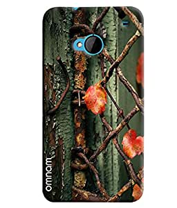 Omnam Steel Wire Pattern With Flowers Cage Printed Designer Back Cover Case For HTC One M7