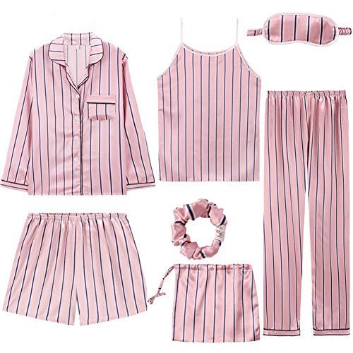 XMDNYE Sexy Pijama 7 Stück Seide Pyjamas Für Frauen Nacht Anzug Nachtwäsche Sets Frauen Frühling Sommer Dessous Homewear Satin Pyjamas Femme (Anzug Für Nacht Frauen)
