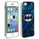 DC Comics Coque Apple iPhone 5 / 5S / Se Coque Design Logo Batman sur Fond Galaxie Protection Silicone Gel Souple Ultra-Fine - Noir