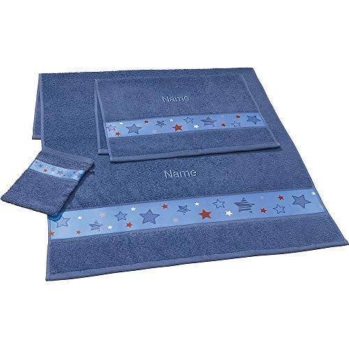 Erwin Müller Kinder-Handtuchset, Frottier-Set 3-tlg. mit Namen personalisiert blau Größe 70x110 cm + 50x70 cm + 15x21 cm - saugstark, 1 Handtuch, 1 Badetuch, 1 Waschhandschuh - 100{f7f81372da2f28e61ab4c6886cb790616e32af125678ee1290b6f4b72b4a6bd1} Baumwolle