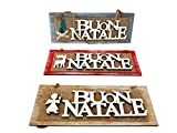 takestop FUORIPORTA TARGHETTA Decorativa Scritta Buon Natale 28x10cm in Legno Natalizia ADDOBBI Decorazione Fuori Porta