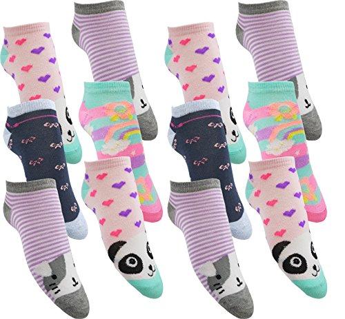12 Paar Mädchen Sneaker Kinder Socken 95% Baumwolle Bunter Mix (MC220 35-38)