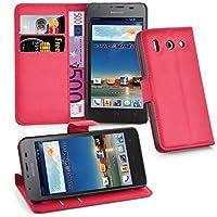 Huawei G510 Hülle in ROT von Cadorabo - Handyhülle mit Kartenfach und Standfunktion für Huawei G510 Case Cover Schutzhülle Etui Tasche Book Klapp Style in KARMIN ROT