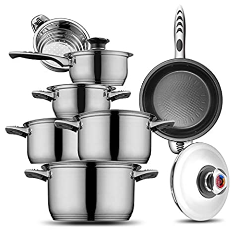 Cookware Set Stainless Steel 18/10 and 18/8 HOFFMAYRO,13 pieces of anti-hot thermometer Gift Full Set of Pots, saucepan,casserole,steamer frying pan(spray non-stick)worth for you have!