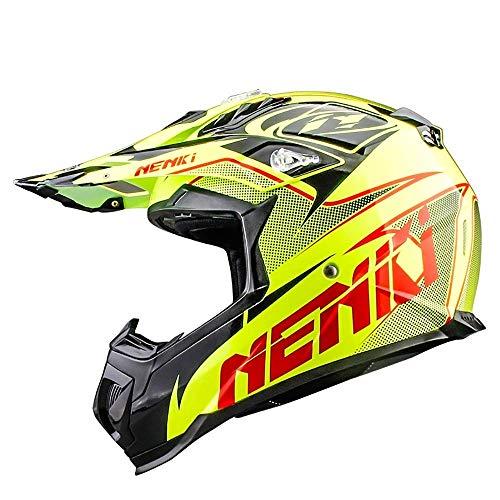 CDXD Motocross Helm ATV Roller ATV Rennhelm MX Motorrad Fahrradhelm D.O.T Zertifizierte Erwachsene Männer Frauen Jahreszeiten Warmer Helm, Leuchtstoff (Size : Large)