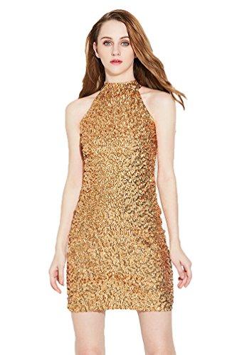 NiSeng Donna Senza Maniche Vestito Miniabito Lustrini Vestito Da Cocktail Paillettes Bodycon Vestito Oro