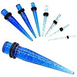 1 Stück oder 1 Set Dehnstab Dehnungsstab Glitter Glitzer Blau Transparent Dehner Expander für Tunnel Plug Piercing, Farbe:glitter blau - Set 1.6-10mm