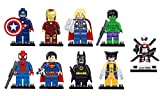 9 x Set of Marvel DC Minifigures with Bases Avengers Super Hero Spiderman Superman Batman Iron Man Hulk Thor Wolverine Deadpool Mini Figures Fits Lego