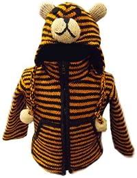 Kids Tiger Jacket - Handknitted Fair Trade Woollen Childs Animal Jacket - Tiger