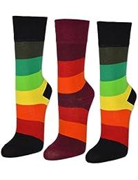 sockenkauf24 4035 Lot de 6 ou 12paires de chaussettes pour femme à rayures multicolores