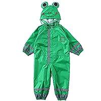 Panjianlin Kids Raincoat Children Baby One-piece Raincoat Green Wear-resistant Raincoat Frog Green Thin Hooded Raincoat Breathable Waterproof Rainsuit