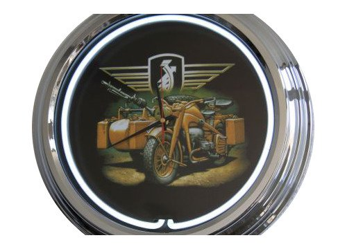Neon Orologio Wehrmacht Frecce Lampadina Orologio Orologio da parete decorativo orologio USA 50's Style Retro Orologio Neon Orologio