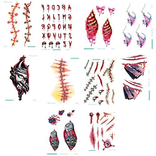 Bomcomi 10PCS Body Art Wassertransfer Tattoo Aufkleber wasserdicht temporäre Tätowierung-Aufkleber Halloween-Narbe auf Handgelenk Fake Tattoo (Einfache Halloween Make-up Zu Hause Zu Tun)