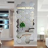 Dailyinshop Hexagonal 3D Espejos Pegatinas de Pared Decoración para el hogar Sala de Estar Espejo Etiqueta de la Pared