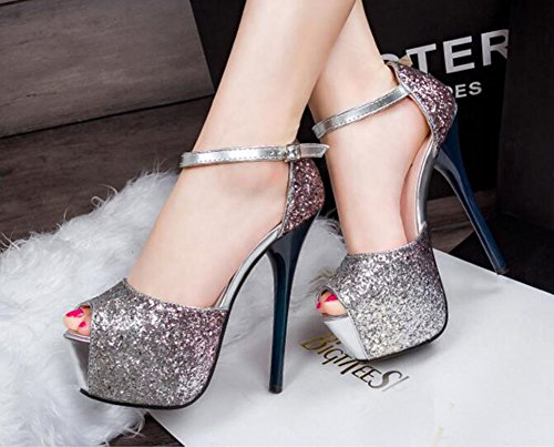 Wealsex stiletto Sandalen Damen Peep Toe High Heel Plateau Stiletto Sommer Pailletten Pumps Schuhe Marineblau