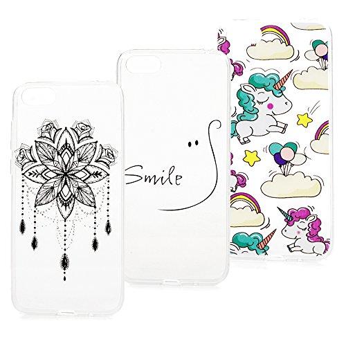 Beaulife. 3X Funda para Huawei Y5, Soft Silicone Case Cover para Huawei Y5 Carcasa Suave Silicona TPU Ultra Delgado Fuerte Case de Plástico se Adapta a Huawei Y5 2018, Diseño de Pintado
