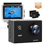 "CAMKONG Action Cam Impermeabile Action Camera Full HD 1080p 12MP 170° Grandangolare 1.5"" LCD con l"