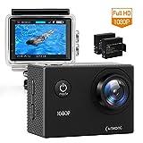 """CAMKONG Action Cam Impermeabile Action Camera Full HD 1080p 12MP 170° Grandangolare 1.5"""" LCD con l'accessorio interessante (2X1050mAh migliorata batterie) - CAMKONG - amazon.it"""