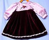 Schildkröt Puppenkleidung für Künstlerpuppen, bordeauxfarbenes Samtkleid für 64 cm Puppen