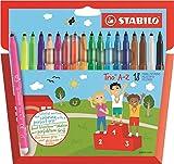 STABILO Trio A-Z - �tui carton de 18 feutres pointe moyenne - dont 3 couleurs fluo