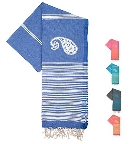 ZusenZomer Fouta Hamamtuch XL 'Biarritz' | 100x190cm | Hochwertige Qualität Baumwolle | Strandtuch xxl, Saunatuch, Hamam Badetuch, leicht und dünn | Exklusives Design (Blau und - Weiße Türkische Handtücher