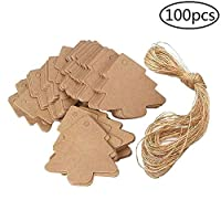 BANAMANA 100 Pcs Christmas Tree Tags Kraft Paper Hanging Ornament Gift Tags Parcel Tags Label String Pendant Decal, Brown
