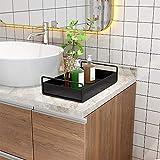 shiok decor®Bathroom Vanity Tray, Kitchen Countertop Storage Shelf Coffee Table Decorative Tray Cosmetic Organizer Display Holder, Black