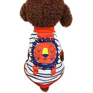 Angelof Vetement Chien/Chat Habit Chien Chihuahua Nain Male T-Shirt Rayé de VêTements D'éTé Habit Chiot Labrador Vetement Lion Imprimé pour Chat Moyenne Taille