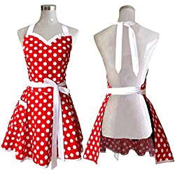 Lovely Sweetheart Red Retro Kitchen Aprons Woman Girl Cotton Polka Dot Cooking Salon Pinafore Vintage Apron Dress Christmas by Hyzrz