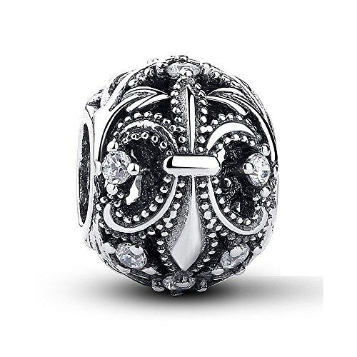 Charm-Anhänger Fleur-De-Lis, klarer Zirkonia, 925 Sterlingsilber, passend für Pandora und andere europäische Charm-Armbänder (De Pandora Fleur Lis Charme)