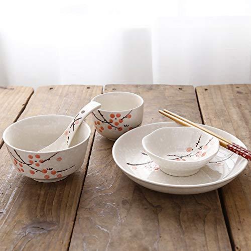 RKY Bol- Plats chinois et japonais, baguettes, assiettes, vaisselle en céramique, restaurant de l'hôtel, ensemble de table, 6 pièces, vaisselle individuelle, 4 couleurs /-/ (Couleur : Red plum)