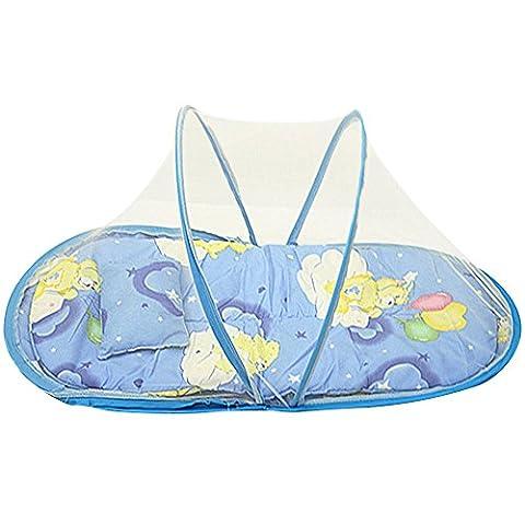 SHOBDW 3pcs Tente Moustiquaire Bébé Pliant Matelas et Oreiller pr Lit de Bébé Rose vif/Bleu (Bleu)