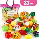 JoyGrow 32PCS Cutting Toys Play Food Fruits Vegetable Kitchen Playset Educational Learning Toy Boy Girl Kid with Handbag Packing (Red)