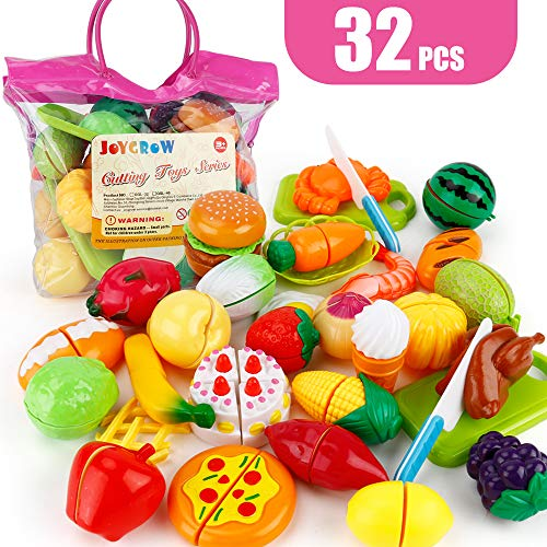 JoyGrow 32PCS Cutting Toys Play Food Fruits Vegetable Kitchen Playset Educational Learning Toy Boy Girl Kid with Handbag Packing (Red)