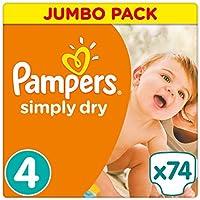 Pampers Simply Dry Windeln, Jumbopack, Größe 4 (Maxi), 7-18 kg, 2er Pack (2 x 74 Windeln)